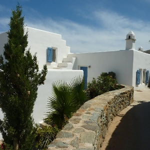 Traditional Cycladic detached house at north Syros